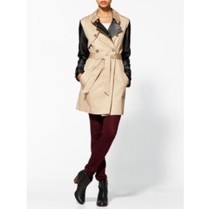 BCBGeneration Midi Trench Coat w/ Faux Leather